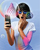 Scratch board illustration of a Young Woman Playing Mobile Games On Smart Phone with a surprised facial expression.