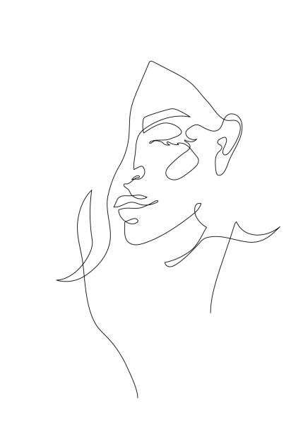 Young woman portrait. Continuous line drawing. Fashion illustration Young woman portrait. Continuous line drawing. Fashion vector illustration beautiful woman stock illustrations