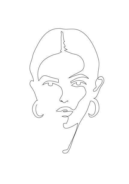 若い女性の肖像画。連続した線描画。ファッションイラストレーション - ポートレート点のイラスト素材/クリップアート素材/マンガ素材/アイコン素材