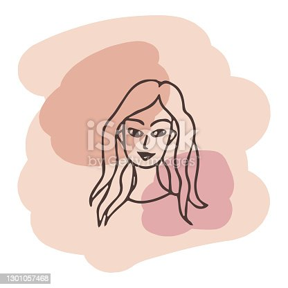 istock Young woman portrait. Vector design template in minimal linear style. Minimalistic modern art. Abstract illustration. Poster and t-shirt print. Beauty concept. 1301057468