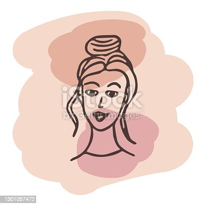 istock Young woman portrait. Vector design template in minimal linear style. Minimalistic modern art. Abstract illustration. Poster and t-shirt print. Beauty concept. 1301057472