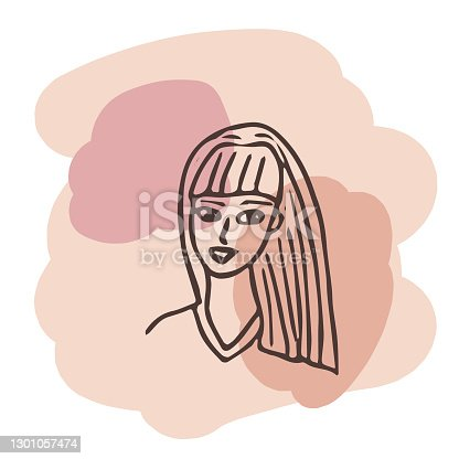 istock Young woman portrait. Vector design template in minimal linear style. Minimalistic modern art. Abstract illustration. Poster and t-shirt print. Beauty concept. 1301057474