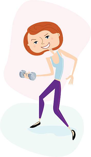 bildbanksillustrationer, clip art samt tecknat material och ikoner med young woman practicing with weights - gym skratt