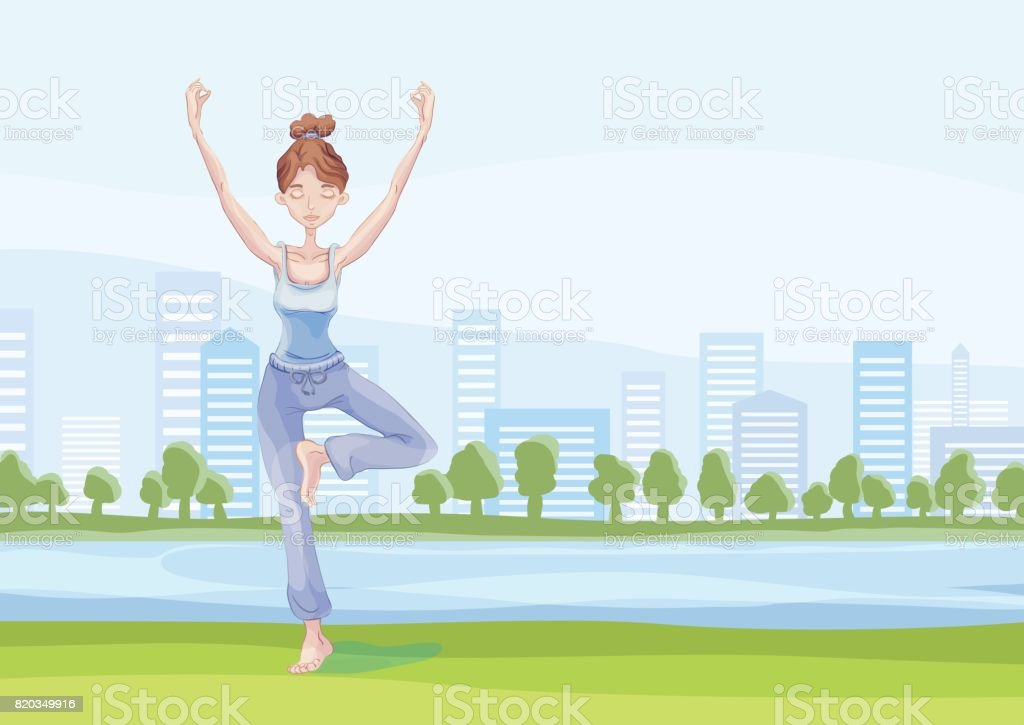 Young woman practicing yoga in the city park, standing on one leg. Vrikshasana exercise, Tree pose. Vector illustration, isolated on white background. vector art illustration