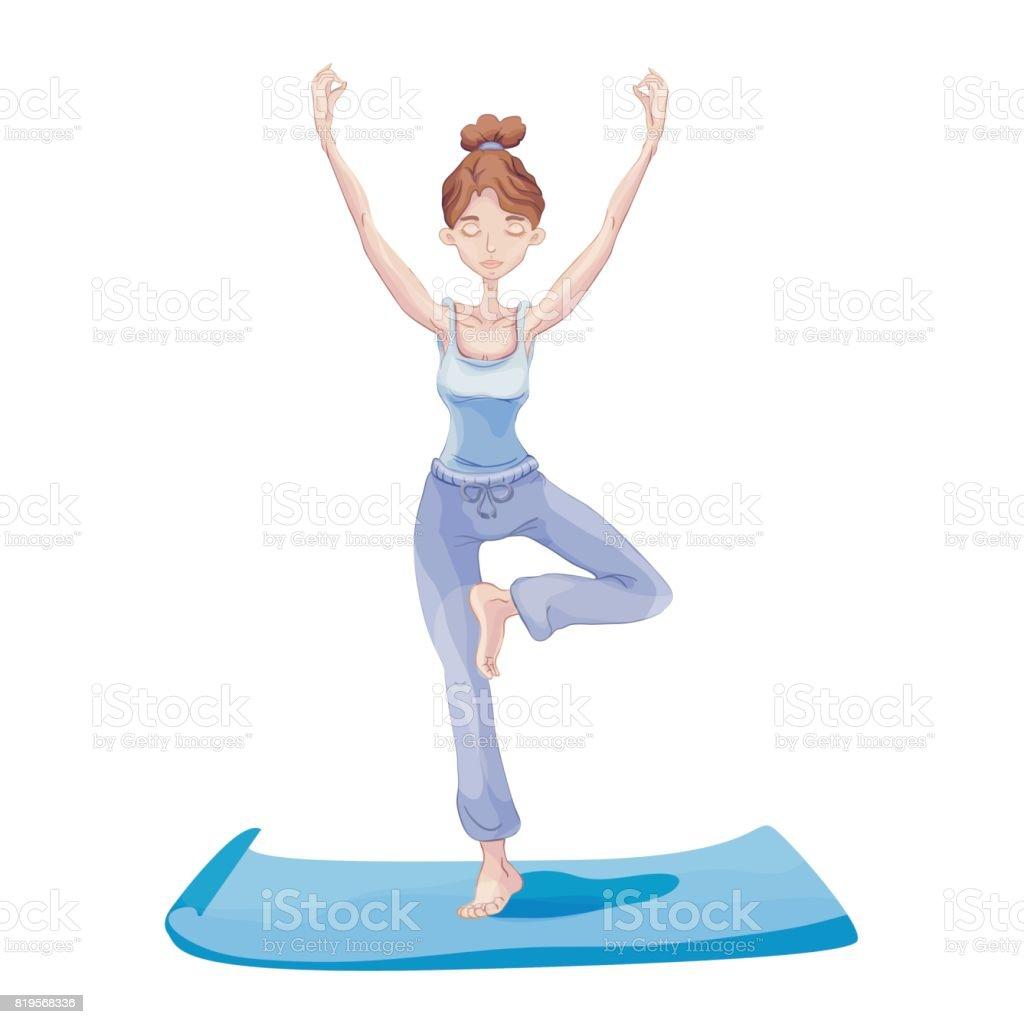 Junge Frau Yoga Zu Praktizieren Auf Einem Bein Stand Vrikshasana ...