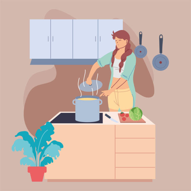 young woman preparing food in kitchen - busy restaurant kitchen stock illustrations