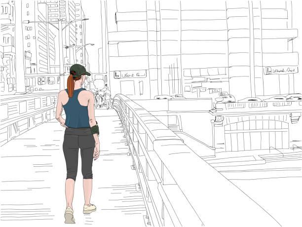 ilustrações de stock, clip art, desenhos animados e ícones de young woman preparing for a run in the city - young woman running city