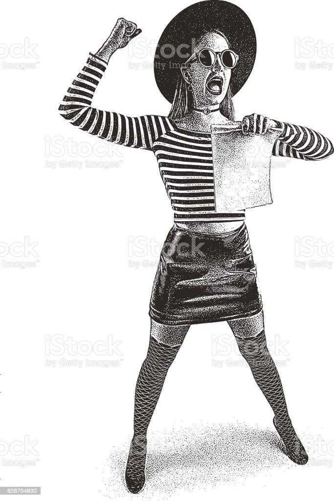 Young woman protesting and holding sign - ilustração de arte vetorial