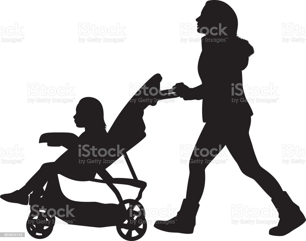 Young Woman Pushing Stroller Silhouette vector art illustration