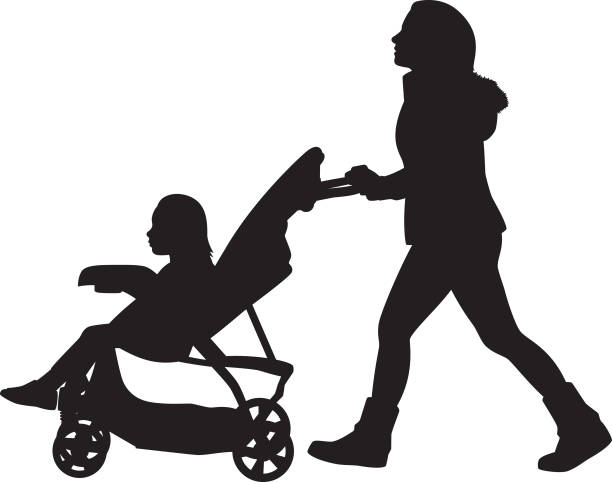 young woman pushing stroller silhouette - babysitter stock illustrations, clip art, cartoons, & icons