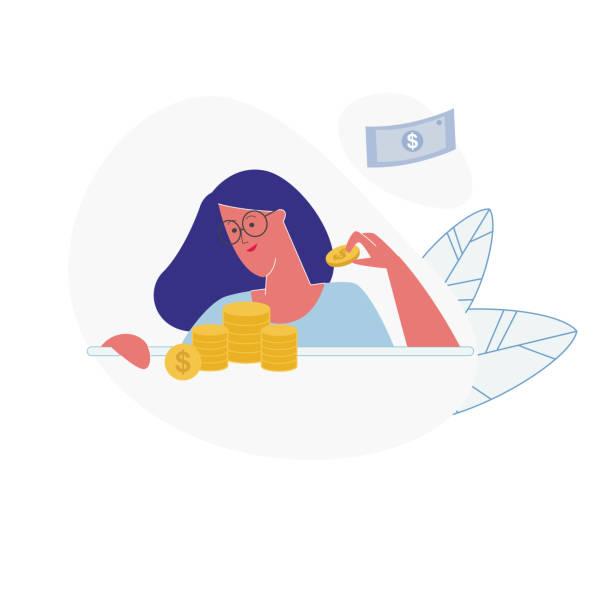 bildbanksillustrationer, clip art samt tecknat material och ikoner med ung kvinna sätta gyllene mynt i högar på bordet - lön