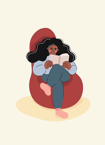 Young Woman Reading a Book, Cartoon Style Vector Illustration