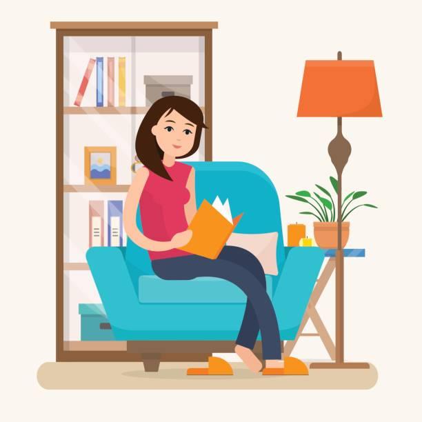 stockillustraties, clipart, cartoons en iconen met jonge vrouw lezen boek op stoel thuis. - woman home magazine