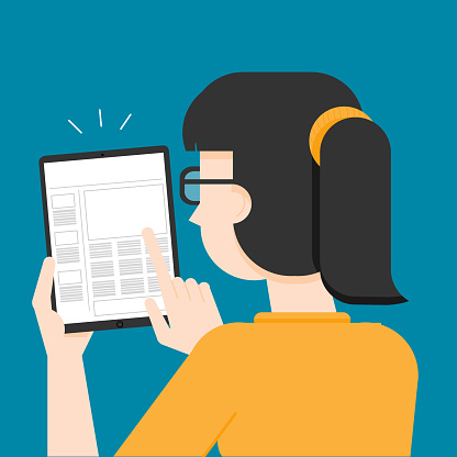 Young Woman Reading e-paper