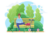 Young woman reading in park flat vector illustration. Smart student studying, bookworm cartoon character. Girl sitting on bench with interesting book. Literature hobby, intellectual recreation
