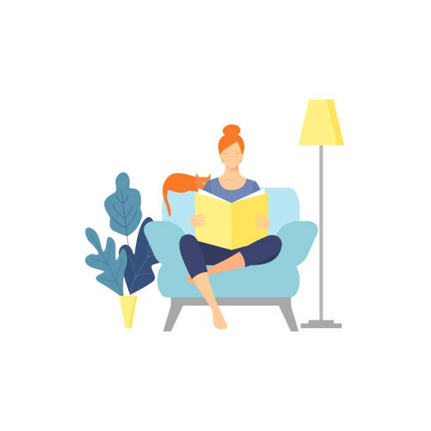 stockillustraties, clipart, cartoons en iconen met de jonge vrouw leest boek, dat op leunstoel met gekruiste benen zit. - woman home magazine