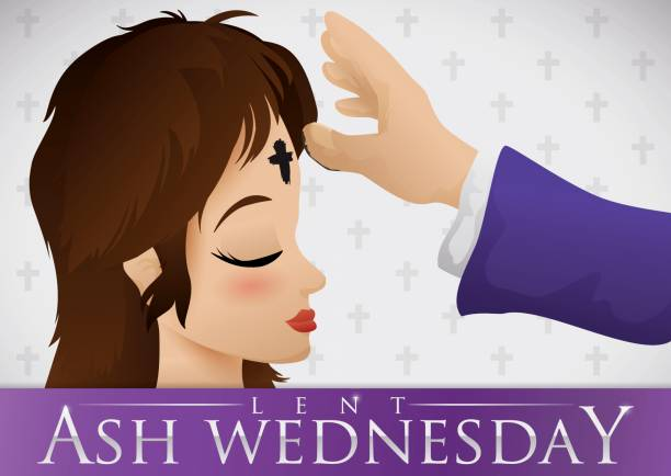 young woman receiving the ash cross on ash wednesday - ash wednesday stock illustrations, clip art, cartoons, & icons