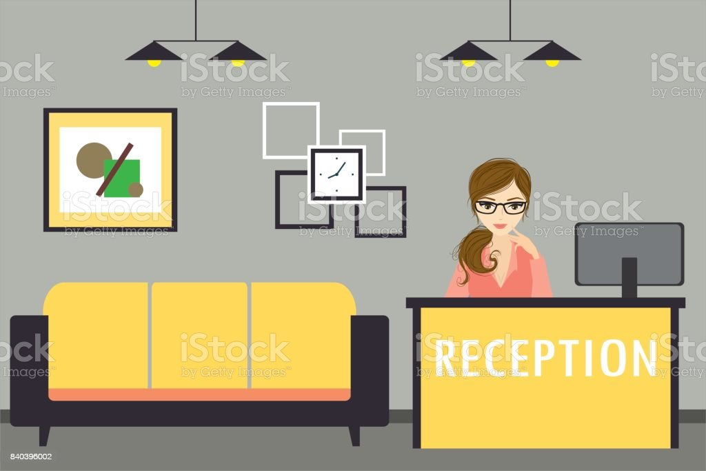 Young woman receptionist stands at reception desk vector art illustration