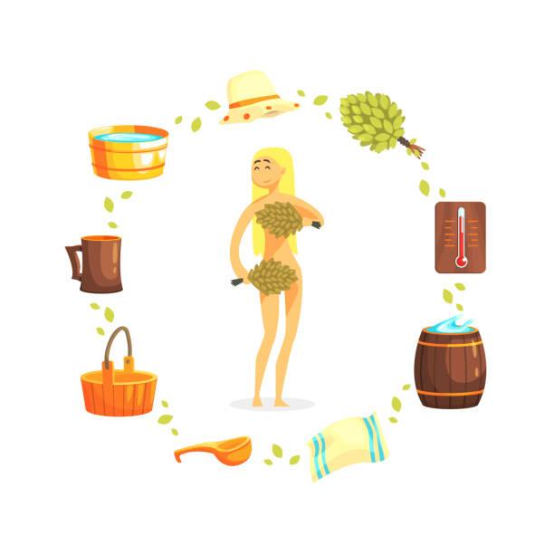 stockillustraties, clipart, cartoons en iconen met jonge vrouw ontspannen in spa, meisje met met trossen van berken boom twijgen, sauna en russische bathhouse accessoires vector illustratie - sauna