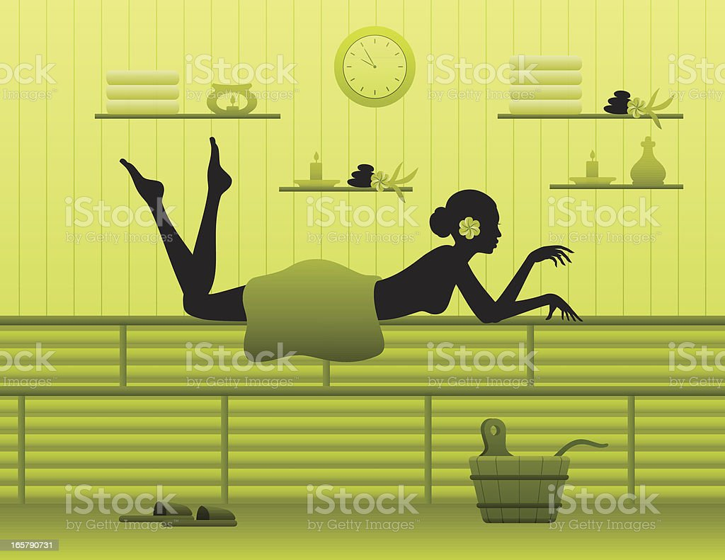Young woman relaxing in sauna royalty-free stock vector art