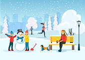 Young woman relaxing on bench, Running woman and Happy children sculpts a snowman at park. Vector flat style illustration