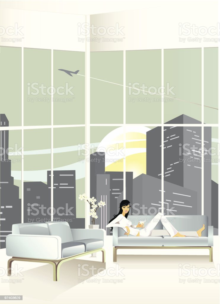 Young Woman Relaxing on Couch in Loft Apartment royalty-free stock vector art