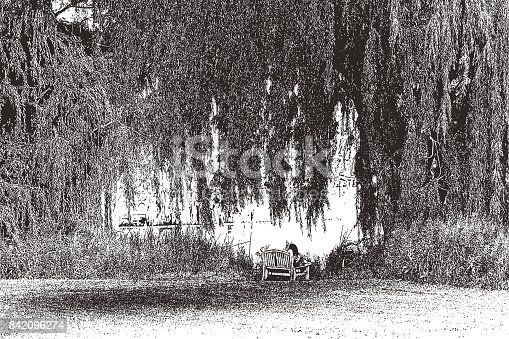 Mezzotint illustration of a Young woman resting on bench under a willow tree