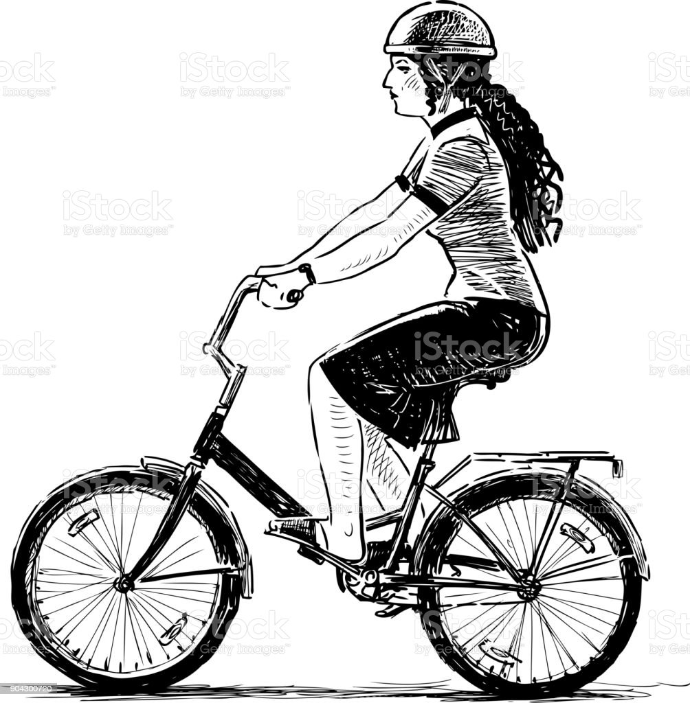 Young woman rides a bicycle vector art illustration