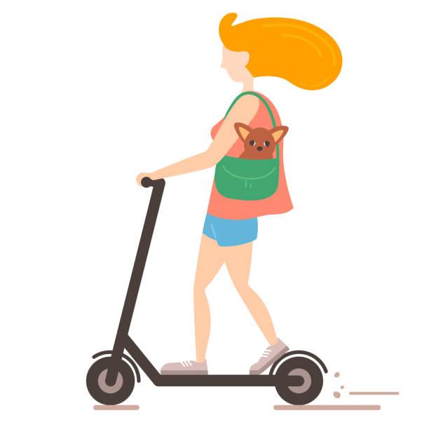 stockillustraties, clipart, cartoons en iconen met jonge vrouw rijden een scooter met haar pocket hond in haar tas in de platte stijl - step