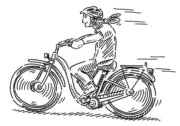 Young Woman Riding Bicycle Drawing Hand-drawn vector drawing of a Young Woman Riding a Bicycle. Black-and-White sketch on a transparent background (.eps-file). Included files are EPS (v10) and Hi-Res JPG. cycling stock illustrations