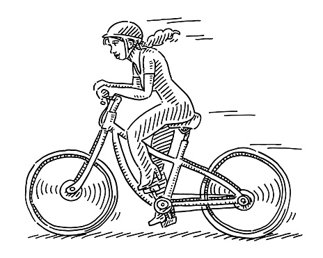 Young Woman Riding Bicycle Drawing