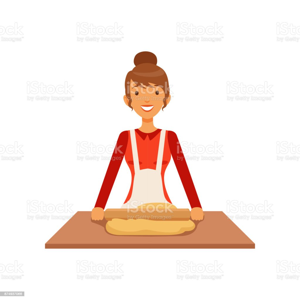 Young woman rolling dough, housewife girl cooking food in the kitchen flat vector Illustration vector art illustration