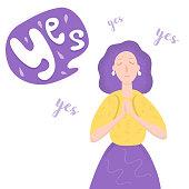Young Woman Said Yes Cartoon Vector Illustration