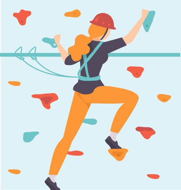 ilustrações, clipart, desenhos animados e ícones de a mulher nova que escala a parede, mulher que escala no parque da aventura, passatempo, esportes extremos vector a ilustração - escalada em rocha