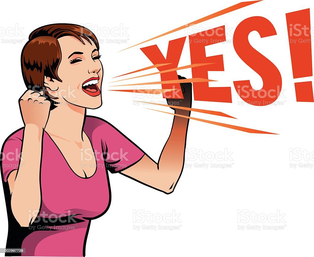 Young Woman Screaming Out Yes vector art illustration