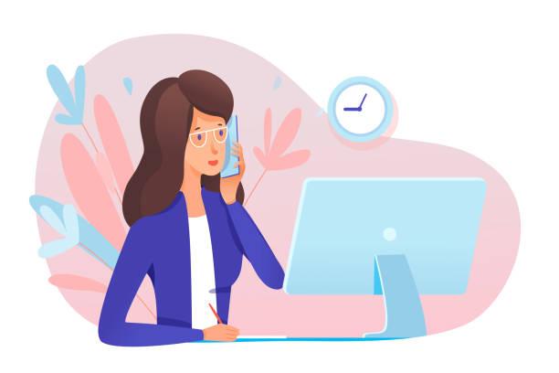 stockillustraties, clipart, cartoons en iconen met jonge vrouwensecretaresse die vraag in bureau beantwoordt - business woman phone