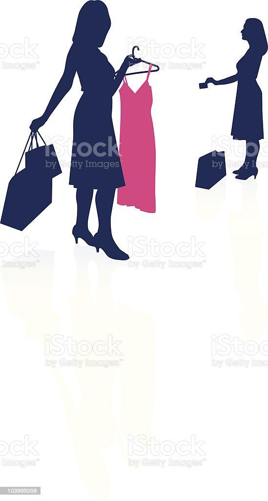 1c5b5dde8 Jovem mulher fazendo compras em silhueta jovem mulher fazendo compras em  silhueta - arte vetorial de