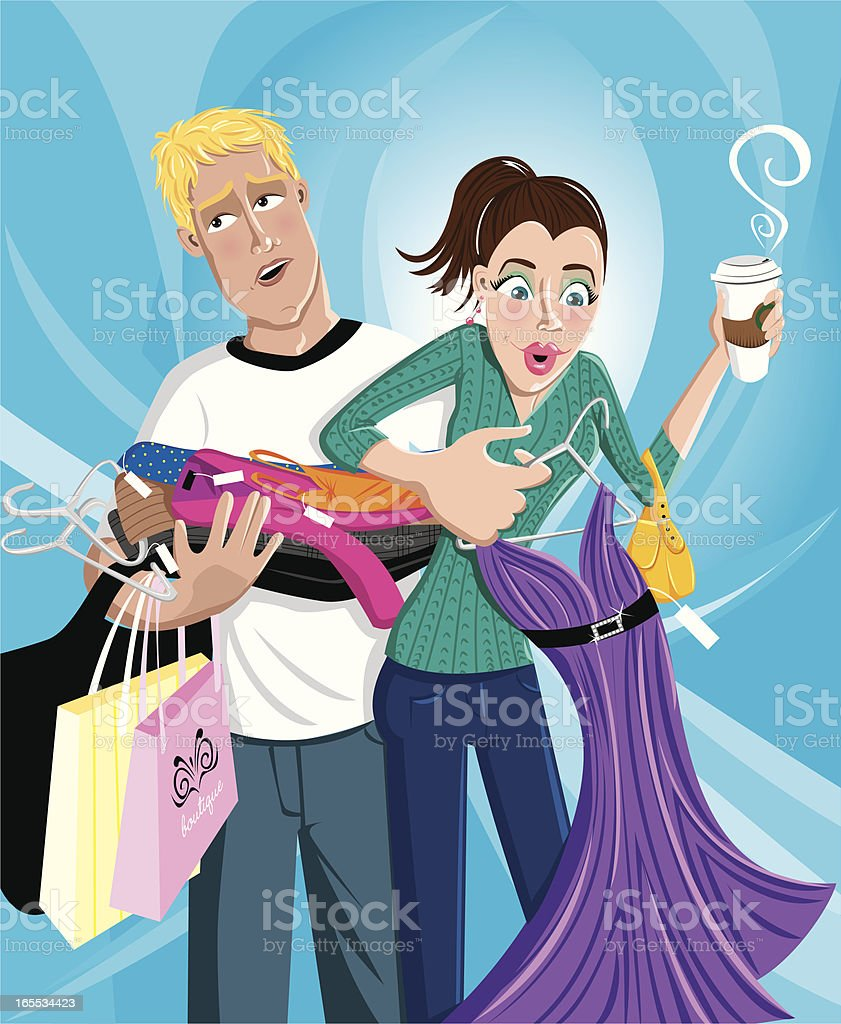 Young woman shopping with boyfriend royalty-free young woman shopping with boyfriend stock vector art & more images of adult