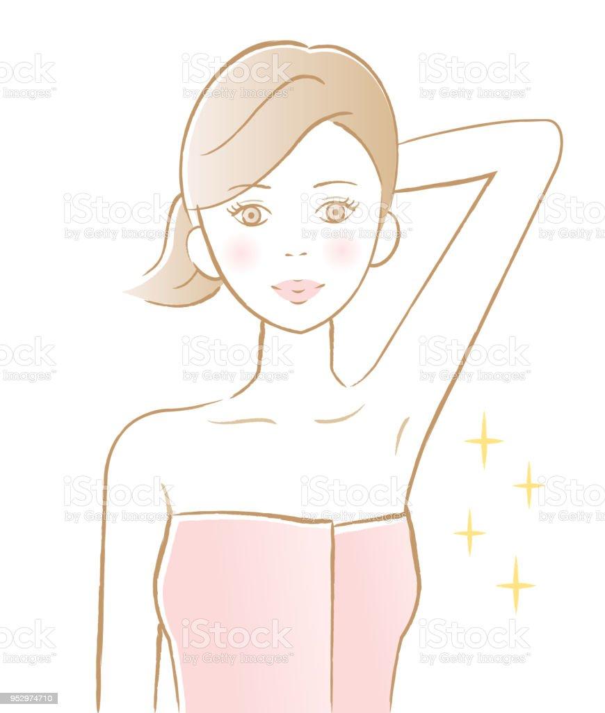 年輕女子顯示她光滑的腋窩。美容護膚理念向量藝術插圖