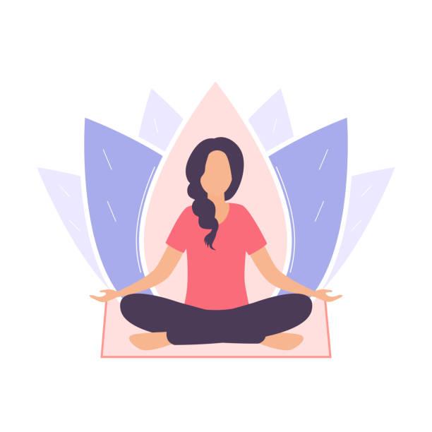 bildbanksillustrationer, clip art samt tecknat material och ikoner med en ung kvinna sitter i en padmasana pose och mediterar. en flicka på en bakgrund av en lotusblomma sitter på en yogamatta, benen korsade. platt vektor illustration isolerad på vit bakgrund. - kvinna tillfreds