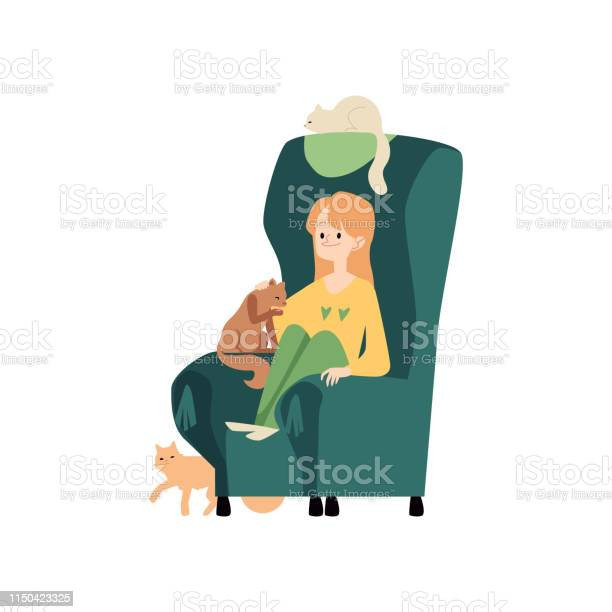 Young woman sits in cozy armchair with cats and stroking kitten vector id1150423325?b=1&k=6&m=1150423325&s=612x612&h=mnuaz11fqof8jaglr kzecxolikxjb2mil5yh7b 6py=