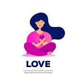 Young woman sits in lotus position and holds a love heart. Happy birthday, greeting card, banner and poster.