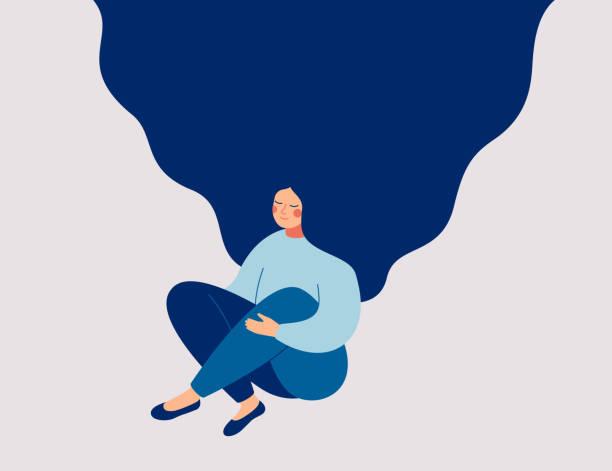젊은 여성은 바닥에 앉아 명상하고 호흡 조절 운동을 수행합니다. - mindfulness stock illustrations