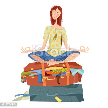 young woman sits on overflowed suitcase in a yoga lotus