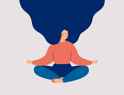 Young woman sits with cross-legged on the floor and meditates with closed eyes. Girl makes morning yoga, relaxes at home or breathing exercises. Body positive and health care concept. Vector
