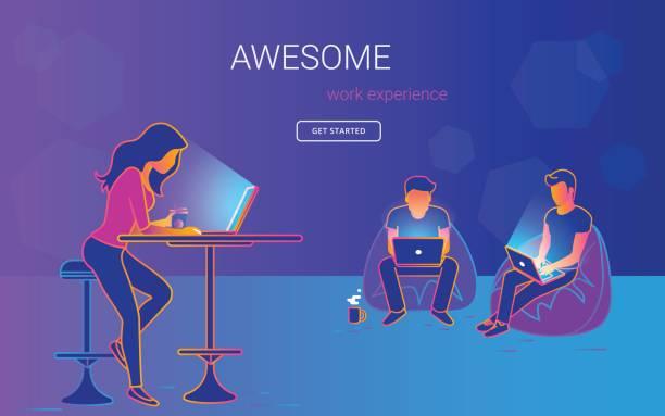 若い女性 laptopn のテーブルに座っていると話していると作業 - フリーランス点のイラスト素材/クリップアート素材/マンガ素材/アイコン素材