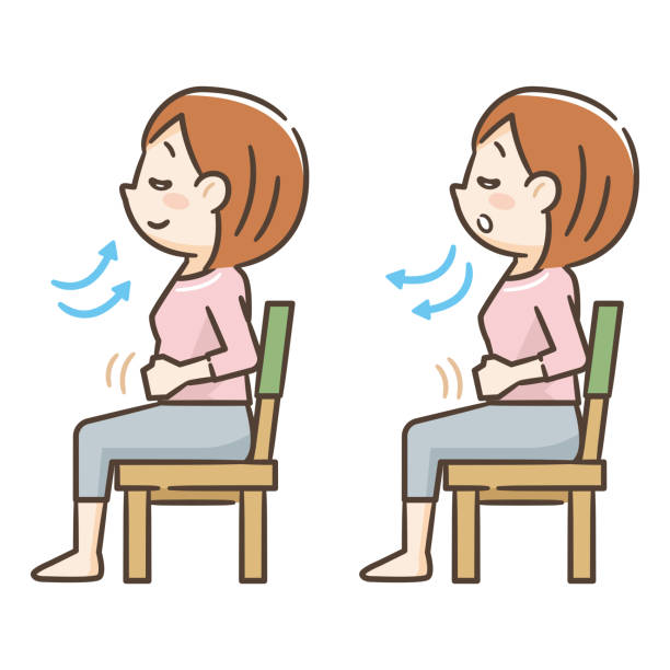 Young woman sitting in a chair and taking a deep breath Young woman sitting in a chair and taking a deep breath inhaling stock illustrations