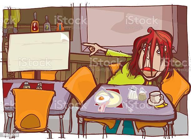 Young Woman Sitting In Diner And Pointing At Sign-vektorgrafik och fler bilder på Avkoppling