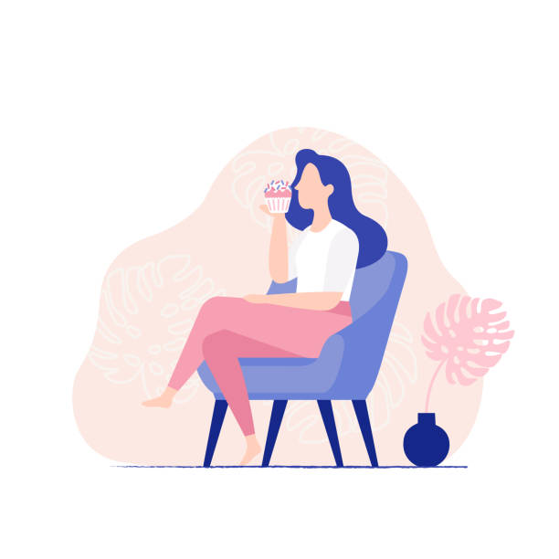 ilustrações de stock, clip art, desenhos animados e ícones de young woman sitting in the chair and eating sweet cupcake. woman eating muffin, side view. - eating