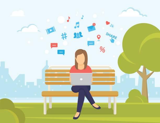 ilustrações, clipart, desenhos animados e ícones de jovem sentado no parque no banco e trabalhando com o laptop - college people laptop